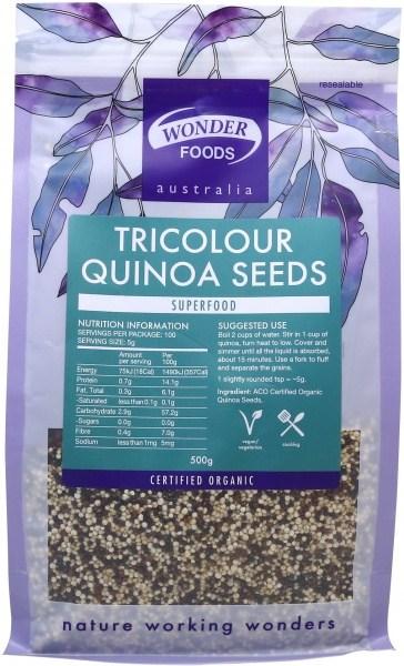 Wonderfoods Quinoa Seeds 500g Tri-colour (Org)