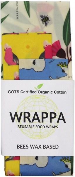 WRAPPA Organic Cotton Reusable Beeswax Food Wraps 3Pk Birds & Bees