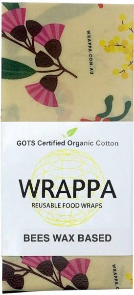 WRAPPA Organic Cotton Reusable Beeswax Jumbo Single Food Wrap Birds & Bees