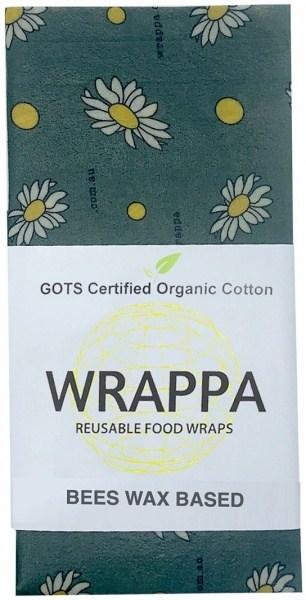 WRAPPA Organic Cotton Reusable Beeswax Jumbo Single Food Wrap Busy Bees