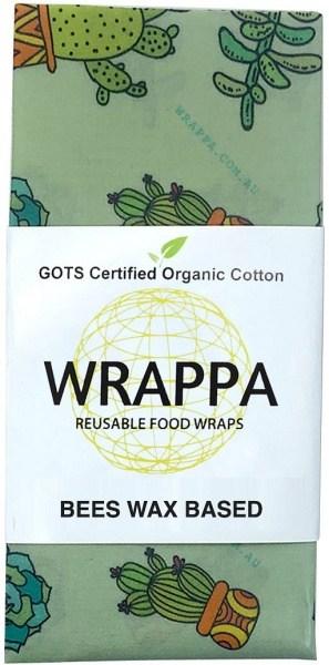 WRAPPA Organic Cotton Reusable Beeswax Jumbo Single Food Wrap Cacti