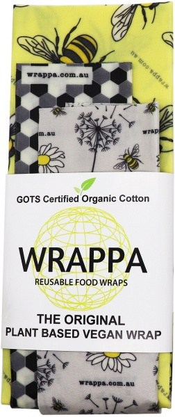 WRAPPA Organic Cotton Reusable Plant Based Food Wraps 3Pk Busy Bees