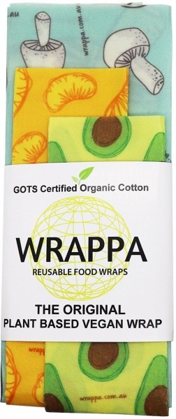WRAPPA Organic Cotton Reusable Plant Based Food Wraps 3Pk Foodies