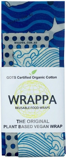 WRAPPA Organic Cotton Reusable Plant Based Food Wraps 3Pk Hammerhead