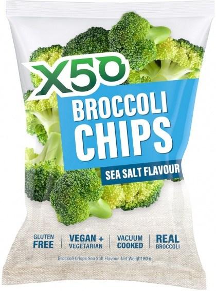 X50 Broccoli Chips Sea Salt  Vegan 10x60g