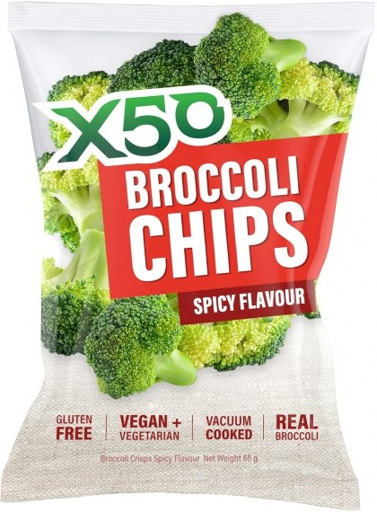 X50 Broccoli Chips Spicy  Vegan 10x60g