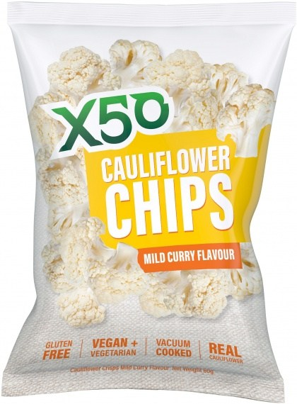 X50 Cauliflower Chips Mild Curry  10x60g