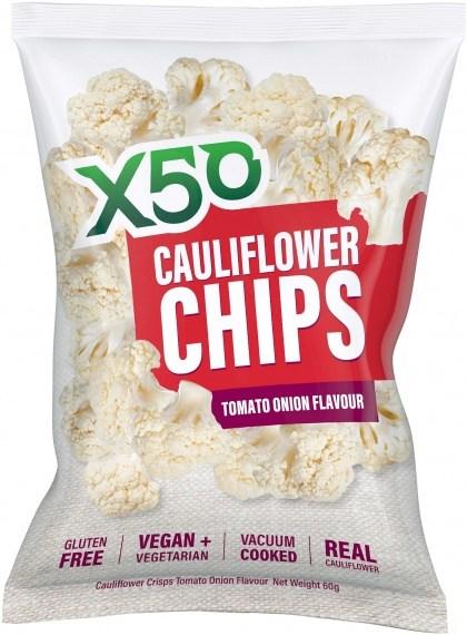 X50 Cauliflower Chips Tomato Onion  10x60g