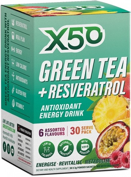 X50 Green Tea + Resveratol Assorted 6 Flavour 30 Sachets