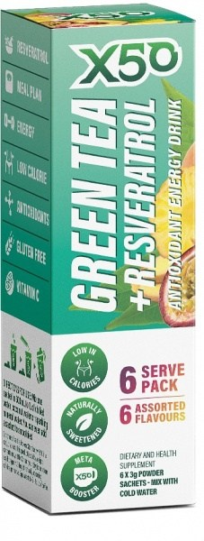 X50 Green Tea + Resveratol Assorted 6 Flavour 6 Sachets
