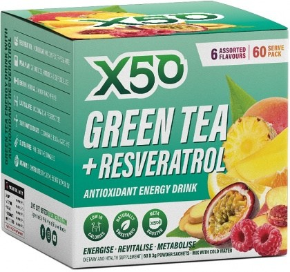 X50 Green Tea + Resveratol Assorted 6 Flavour 60 Sachets