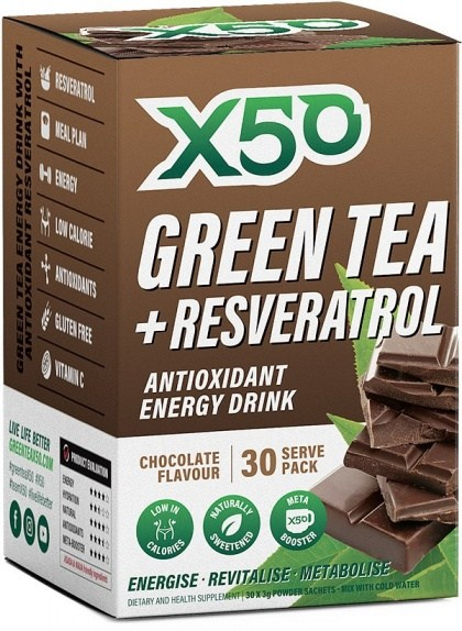 X50 Green Tea + Resveratol Chocolate 30 sachets