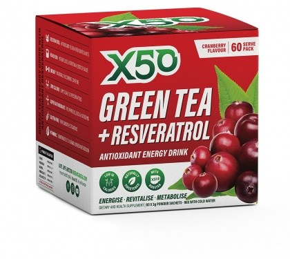 X50 Green Tea + Resveratol Cranberry  60 x 3g Sachets
