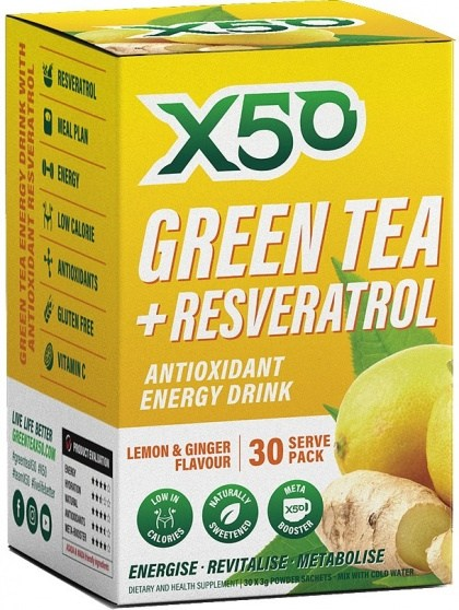 X50 Green Tea + Resveratol Lemon & Ginger 30 Sachets