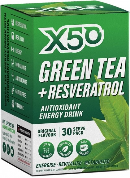 X50 Green Tea + Resveratol Original 30 Sachets