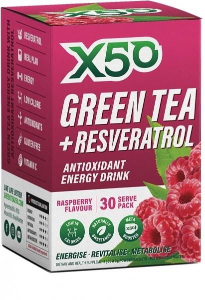 X50 Green Tea + Resveratol Raspberry 30 Sachets