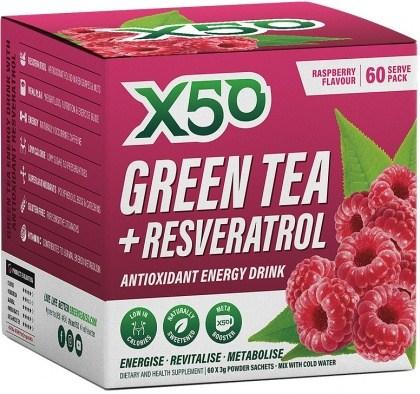 X50 Green Tea + Resveratol Raspberry 60 Sachets