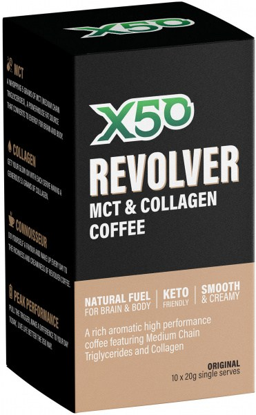 X50 Revolver MCT and Collagen Coffee Original 10 x 10g Sachets