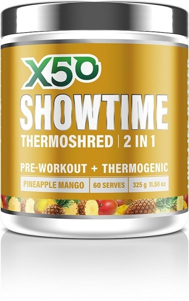 X50 Showtime Thermoshred 2 in 1 Pineapple Mango  325g