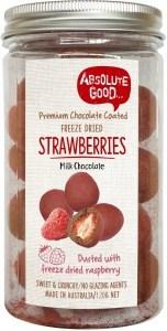 Absolute Good Milk Choc Coated Strawberries with Raspberry 120g