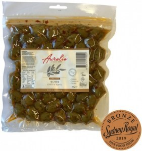 Aurelio Organic Chili 'n Garlic Olives  300g