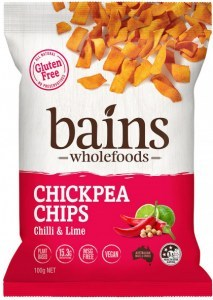 Bains Wholefoods Chickpea Chips Chilli & Lime  100g