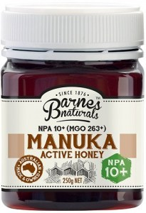 Barnes Naturals Active Manuka Honey NPA 10+ (MGO 263+) 250g Jar
