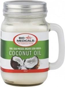 Bio-Medicals Organic Extra Virgin Coconut Oil Mason Glass Jar 400ml