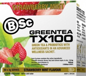 BSc Green Tea TX100 Strawberry Mint 60x3g Serve Pack