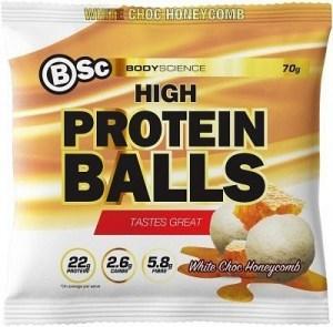 BSc HydroxyBurn Hi Protein Lo Carb Balls White Choc Honeycomb Chunks 10x70g