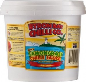 Byron Bay Chilli Spicy Lemongrass Chilli Sauce with Coriander Bucket G/F 1Kg