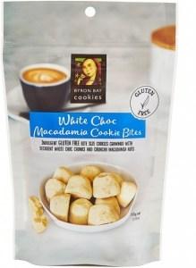 Byron Bay Gluten Free White Choc Macadamia Cookie Bites in Pouch 100g