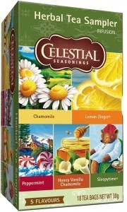 Celestial Seasonings Herbal Tea Sampler 18 Teabags (5 Flavours)
