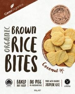 Ceres Organics Organic Brown Rice Bites Coconut  100g Box