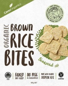 Ceres Organics Organic Brown Rice Bites Green Tea & Seaweed  100g Box