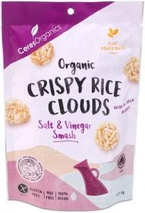 Ceres Organics Organic Crispy Rice Clouds Salt & Vinegar Smash  50g