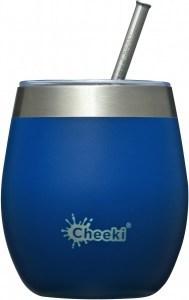 Cheeki Insulated Wine Tumbler with Straw Sapphire Blue 220ml