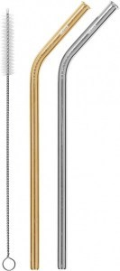 Cheeki Reusable S/S Straws Bent (Silver, Gold & Brush) 2Pack
