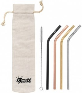 Cheeki Reusable S/S Straws Bent (Silver,Gold,Rose Gold,Black,Brush & Cloth Bag) 4Pack