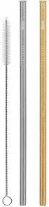 Cheeki Reusable S/S Straws Straight (Silver, Gold & Brush) 2Pack