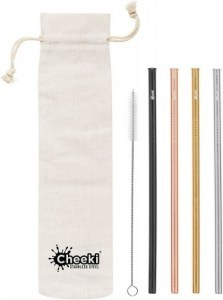 Cheeki Reusable S/S Straws Straight (Silver,Gold,Rose Gold,Black,Brush & Cloth Bag) 4Pack