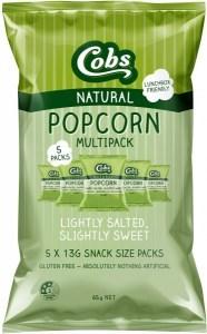 Cobs Natural Popcorn Multipack Lightly Salted, Slightly Sweet  (5Pk) 10x65g