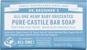 Dr Bronner's Pure Castile Bar Soap Baby Unscented 140g