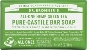 Dr Bronner's Pure Castile Bar Soap Green Tea 140g