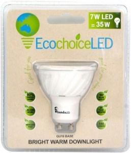 EcochoiceLED 7W Bright Warm Downlight GU10 Base