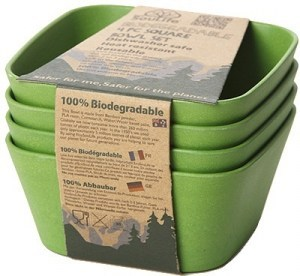 EcoSouLife Bamboo (D13 x H6cm) Square Bowl Set Green 4Pc