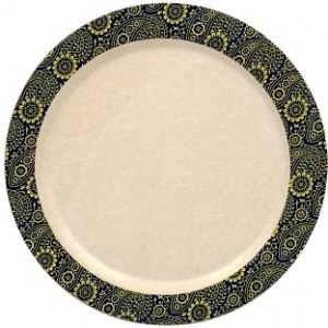 EcoSouLife Bamboo (D22.5 x H1.8cm) Print Paisley Large Dinner Plate