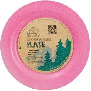 EcoSouLife Bamboo Main Plate Pink 25cm