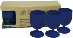 EcoSouLife Bamboo Eco Goblet Pack Sky Blue 4Pc