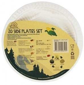 EcoSouLife Cornstarch (18cm) Side Plate Natural 20Pc Set